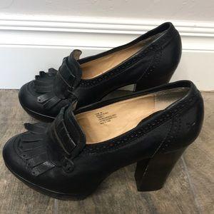 Frye black platform heels size 7M.
